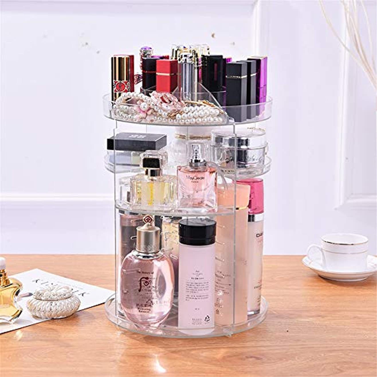 優雅な洞察力のあるwinkong 化粧品収納ボックス 大容量 360度回転 透明 調節可能 メイク収納ケース 化粧品収納ラック 女の子のギフト