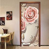 Lcymt 防水ドアステッカー壁画リビングルームの寝室のドアの装飾3Dフラワー壁画壁紙自己接着家の装飾-400X280Cm