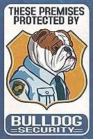 英語ブルドッグセキュリティ–Dog Sign 24 x 36 Signed Art Print LANT-82689-710
