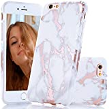 BAISRKE Shiny Rose Gold White Marble Design Slim Flexible Soft Silicone Bumper Shockproof Gel TPU Rubber Glossy Cover Phone Case Compatible with iPhone 6 Plus / 6s Plus [5.5 inch]