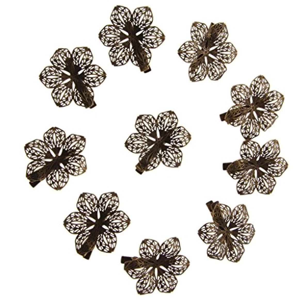放棄一緒ペフdailymall 10ヴィンテージアンティーク真鍮ヘアピン/バレット/アクセサリーグリップスライド花