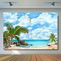 comophotoポリエステルビーチ写真の背景幕Sea Blue Sky Background Palm Trees Summerパーティー写真背景for Studio