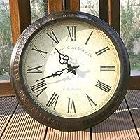 Chuangshengnet 電子時計壁時計応接室コンチネンタル牧歌的なアメリカの時計とアイアンハングビレッジレストランスタディサークルクリエイティブ (Color : B, サイズ : 16 inch)