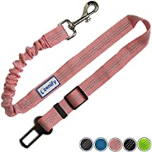 Zenify Dog Car Seat Belt Seatbelt Lead Puppy Harness - Extendable Bungee Adjustable Carseat Clip Buckle Leash for Dogs Puppies Pets Travel - Pet Safe Collar Accessories Supplies Truck Safety (Pink)