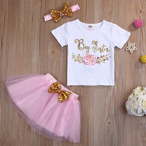 GRNSHTS Toddler Baby Kid Girls Big Sister Outfits Short Sleeve T-Shirt Top+Tutu Skirt with Headband Clothing Set - Pink - 5-6 Years