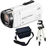 JVC KENWOOD Everio R HDビデオカメラ GZ-RX600-W ホワイト 内蔵メモリー64GB 3点セット ( 本体 + 三脚 + カメラバッグ )