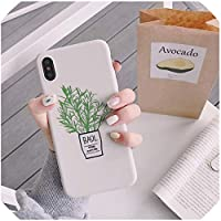 Green Plantsシリコンフォンカバーfor iPhone 8PlusケースMatte Soft Coque for iPhone Xr X 6 6S 7 Plus Xs Max Fitted case、for iPhone X、GN,GY,ForIphone7