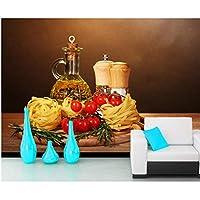 Mrlwy トマトスパイスまな板パスタボトル調味料食品3d壁紙、リビングルームキッチンレストランカフェバー - 120×100センチ
