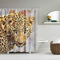 浴室のシャワーカーテン シャワーカーテンシャワーカーテンヒョウヘッド防水クイックトゥドライ環境保護材料金属フック吊り穴 (サイズ : 180*200cm)