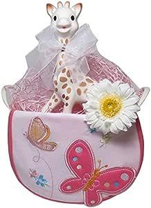 出産祝い/キリンのソフィー(並行輸入品)とキュートなスタイのギフトセット・リボンラッピング付き (女の子用)