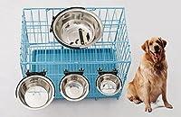 Zilimotgly ペット食器 ペット用ハンガーボウル 犬猫ステンレスフードボウル 高度調節可能 水こぼれ防止 転倒防止 掛ける 丈夫な便利な犬猫用品食器 (S)