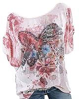 maweisong レディースサマープリントシャツ丸首カジュアルブラウス半袖チュニックトップ Pink M