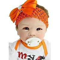 SanyDoll Rebornベビー人形ソフトSiliconeビニール22インチ55 cm Lovely Lifelikeキュート赤ちゃん男の子女の子おもちゃオレンジプリンセスドレス