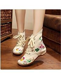レディース 女性 フラットブーツ 民族風 刺繍 花柄 花飾り レースブーツ 中華刺繍ブーツ 中国布靴 ショートブーツ