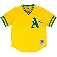 Rickey HendersonゴールドOakland Athletics AuthenticメッシュBatting Practice Jersey