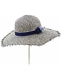 麦わら帽子女性夏のビーチサンバイザー漁師の帽子アウトドアトラベルハット (色 : ネイビー ねいび゜)