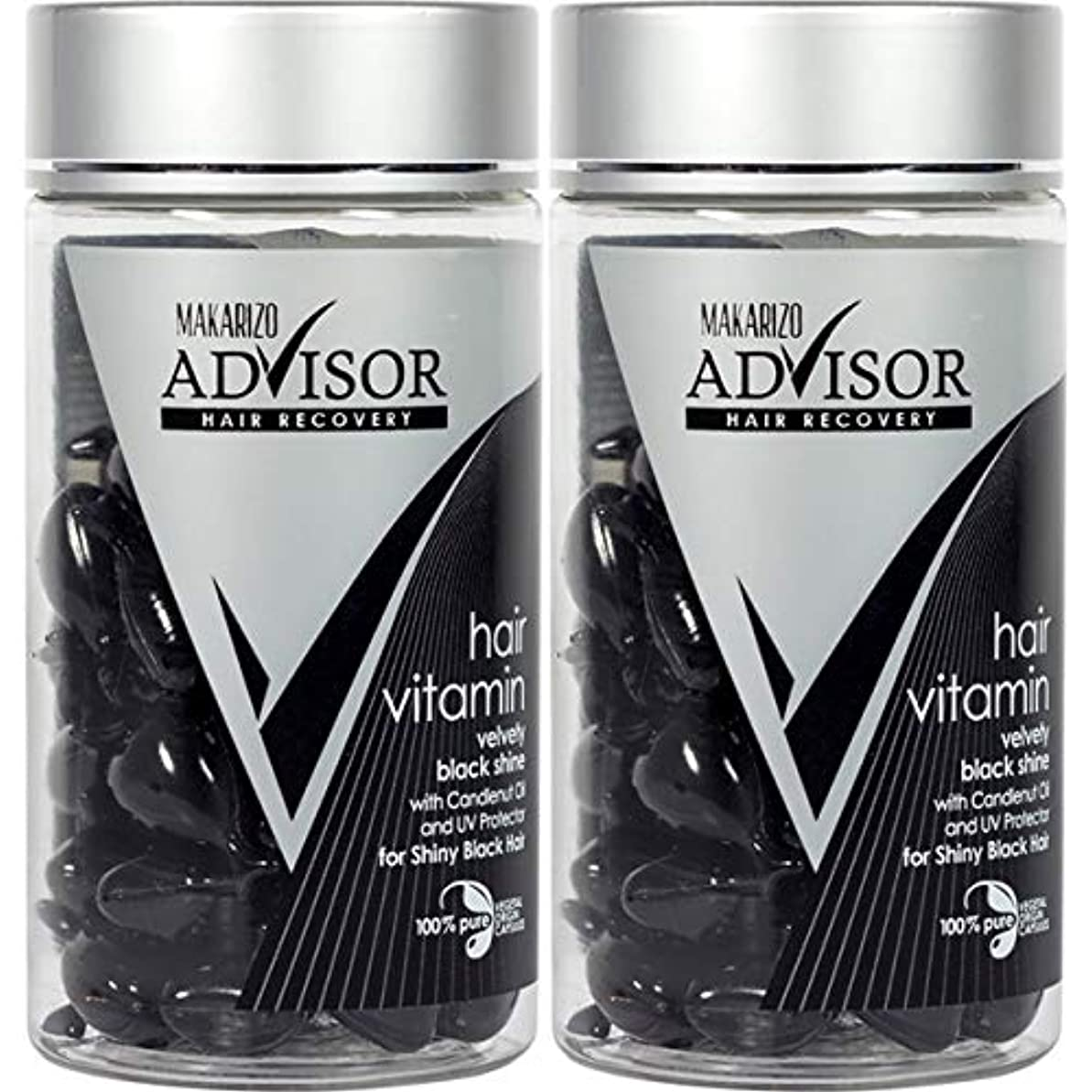緩やかなペイント嵐MAKARIZO マカリゾ Advisor アドバイザー Hair Vitamin ヘアビタミン 50粒入ボトル×2個セット Velvety Black Shine ブラック [海外直送品]