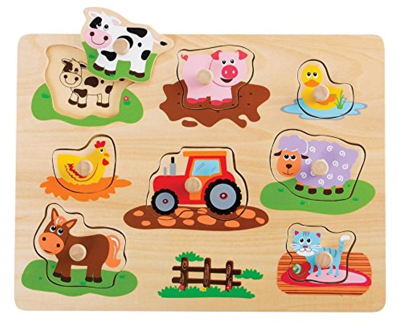 Lelin木製ファーム動物Pegパズル