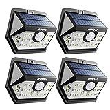 Mpow センサーライト ソーラーライト 20led センサー時間30s 屋外照明 防水 人感ライト自動点灯 玄関 庭 駐車場 18ヶ月間保証 停電防災緊急対策 4個