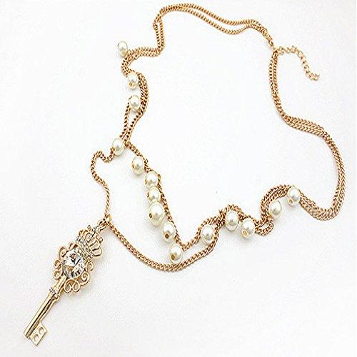 AngelaQmi クラウン鍵 パール ネックレス 二層 鎖骨チェーン 宝石アクセサリー