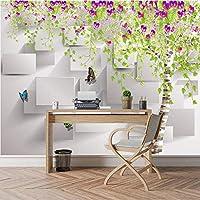 Xbwy 現代のレンガの壁紙3D立体壁用壁紙3 D子供のリビングルームの花の花蝶の壁紙-350X250Cm
