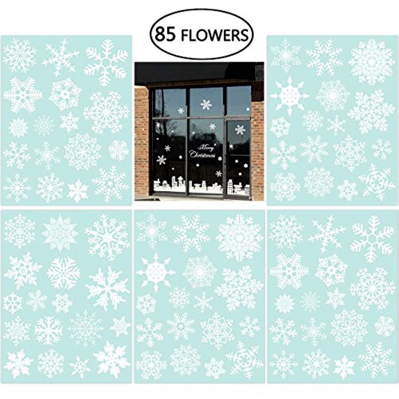 [NICEXMAS]NICEXMAS 85 Snowflake Window Clings Christmas Window Decorations 34 Different Snowflakes by Glueless PVC [並行輸入品]