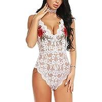 ADOME Women Teddy Lingerie Bodysuit Embroidered Lingerie Choker Plunge