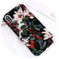 電話ケースiPhone X XS Max Camellia 適用チェリー花大理石パイナップルハードPCカバー,SJ3420,6Plus 6sPlusの場合