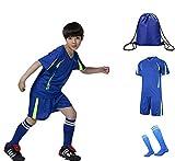 QD-WST ジュニアサッカーウェア 子供トレーニング 上下セット 半袖シャツ ハーフパンツ サッカーソックス1足付き 収納バッグ付き