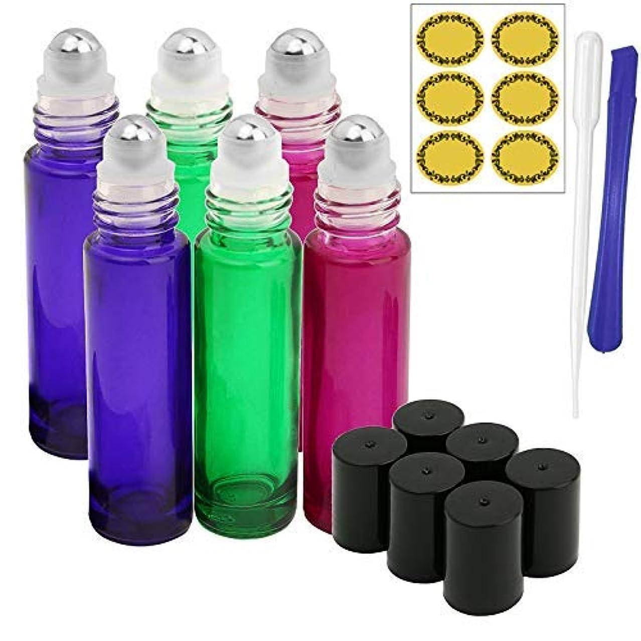 権限に対応クラス6, 10ml Roller Bottles for Essential Oils - Gradient Color Glass Refillable Roller on Bottles with 1 Opener, 1...
