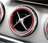 メルセデス ベンツ Aクラス Bクラス GLA CLA 人気の赤!アルミ エアコン吹き出し口 オーナメント ダクト リング インナー カバーフロントエアコン吹き出し デフォッガーベゼルカバー 通気口カバー 空調口カバー 空調カバー カスタム パーツ インテリア パーツ