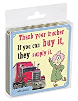 tree-free Greetings 4 cork-backedコースターのセット、3.75 X 3.75インチ、Aunty酸Thank Your Trucker (ec96556 )
