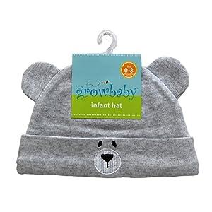 growbaby Infant Hat 新生児用(0~3カ月)帽子 ジャージー地綿100%,クマさん帽子 グレー 23526