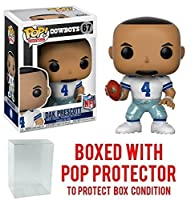 Funko Pop NFL: Wave 4 Dak Prescott Dallas Cowboys Home Jersey Vinyl Figure (Bundled with Pop Protector)