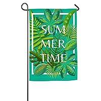 """Osvbs 熱帯の夏の緑の葉 性格、カスタマイズ 庭の装飾に適したフェード防止ガーデンバナー12""""x18"""""""