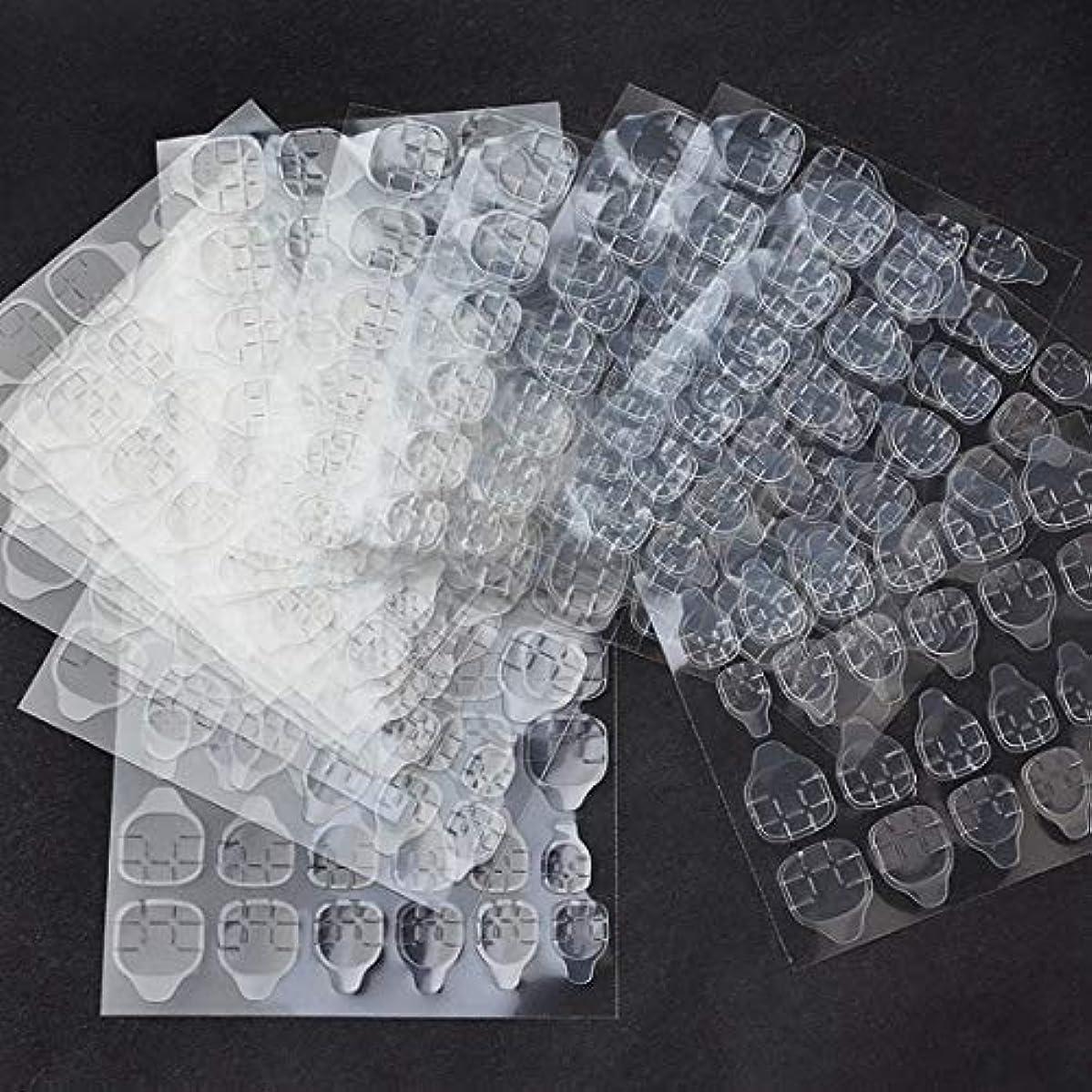 エキスパート貴重な誓うOWNFSKNL 10枚防水通気性透明超薄型両面接着タブネイルグルーステッカー偽ネイルのヒント