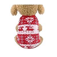 12色漫画子犬ベスト服暖かい犬服チワワフレンチブルドッグ冬犬コート用小型犬ペット猫服-レッドディア-L