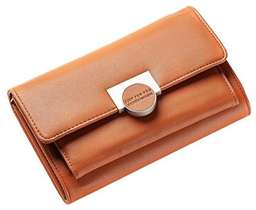 Femarolyレディースショルダーバッグ財布ファッションメッセンジャーカードホルダーマルチボリュームクロスボービーウォレット女性ブラウン