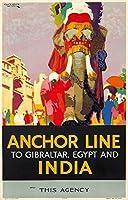 アンカーラインインド–ビンテージポスター(アーティスト: Nicoll ) UK C。1926 9 x 12 Art Print LANT-74157-9x12