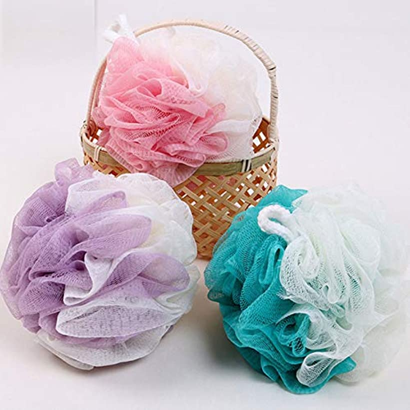 エスカレート食物喪ボディウォッシュボール 泡立てネット スポンジ フラワーボール 超柔軟 シャワー用 風呂 浴室 3 個入 (3 個入, Pink + Purple + Blue)