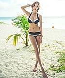 ange select シック デザイン 白 黒 ビキニ 水着 ビーチ 海 リゾート 旅行 バスト アップ (XL)