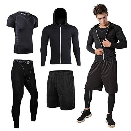 Sillictor スポーツウェア 3点 セット 半袖 コンプレッションウェア + ロング コンプレッションタイツ + ショート パンツ メンズ [UVカット + 吸汗速乾] 3211ブラック