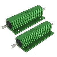 uxcell ハイフラ防止抵抗器 巻線型抵抗器 収容巻線型抵抗器 グリーン 100W 15 Ohm  5% 2個