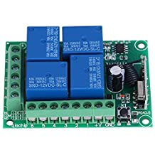 Doors Remote Control Switch Receiver Board, DC12V 4-CH 433MHZ Wireless Garage Doors Control Switch Receiver Board with Remote Controller