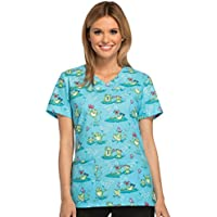 Cherokee Fashion Prints by Women's V-Neck Butterfly Print Scrub Top