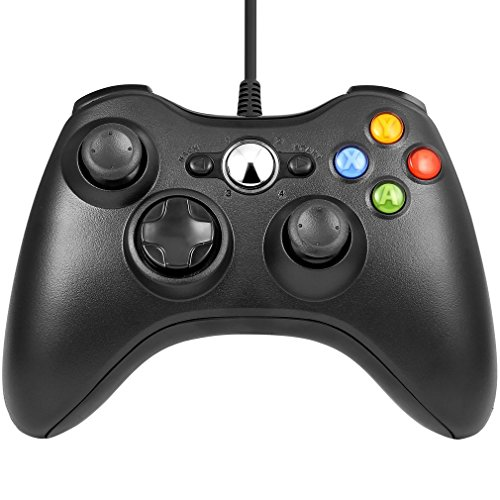 Diswoe xbox 360コントローラー ゲームパッド Microsoft Xbox&Slim 360 PC Windows 7適用 (ブラック)