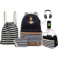 ANJUREN School Backpack Set Laptop Rucksack Book Bags with USB Charging Port Headphone Jack Lunch Tote Bag Pouch Pencil Case Drawstring Backpacks for Teen Girls Boys High School Students (4IN1, Black)