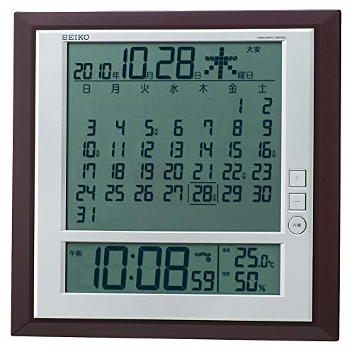 セイコー クロック 掛け時計 置き時計 兼用 月めくりカレンダー 電波 デジタル 六曜 温度 湿度 表示 茶 メ...