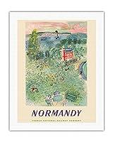 ノルマンディー、フランス - フランス国有鉄道 - ビンテージな鉄道旅行のポスター によって作成された ラウル・デュフィ c.1952 - キャンバスアート - 51cm x 66cm キャンバスアート(ロール)