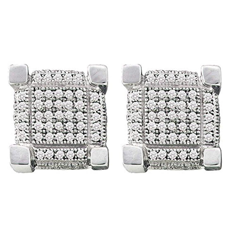 可能にする論理的規範Roy Rose Jewelry 10K ホワイトゴールド メンズ ラウンド パヴェセット ダイヤモンド 3D キューブ スクエア クラスター ピアス 1/4カラット tw